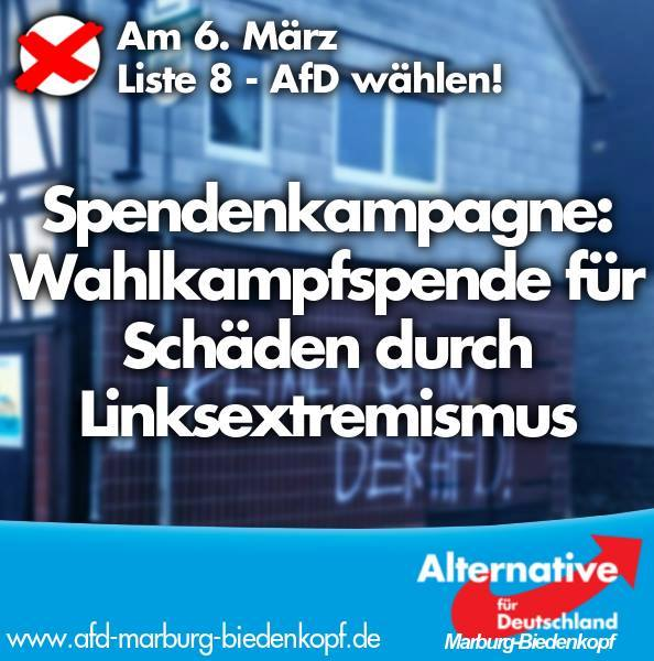 "AfD KV Marburg ""Spendenaufruf Linksextremismus"""