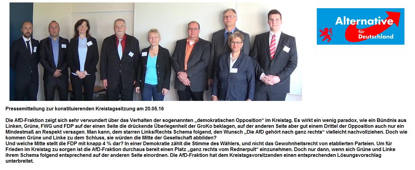 Pressemitteilung AfD Fraktion
